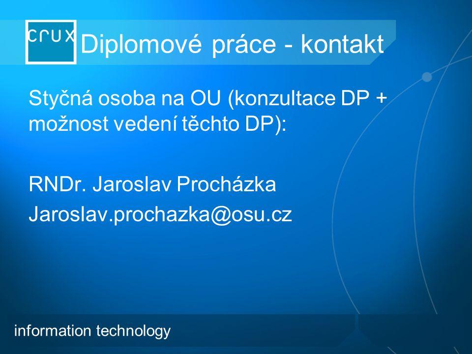 Diplomové práce - kontakt Styčná osoba na OU (konzultace DP + možnost vedení těchto DP): RNDr.