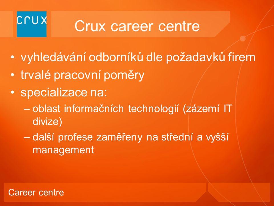 vyhledávání odborníků dle požadavků firem trvalé pracovní poměry specializace na: –oblast informačních technologií (zázemí IT divize) –další profese zaměřeny na střední a vyšší management Crux career centre Career centre