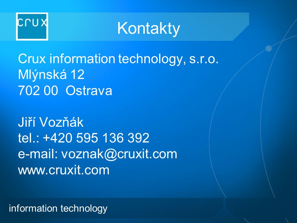 Kontakty Crux information technology, s.r.o.