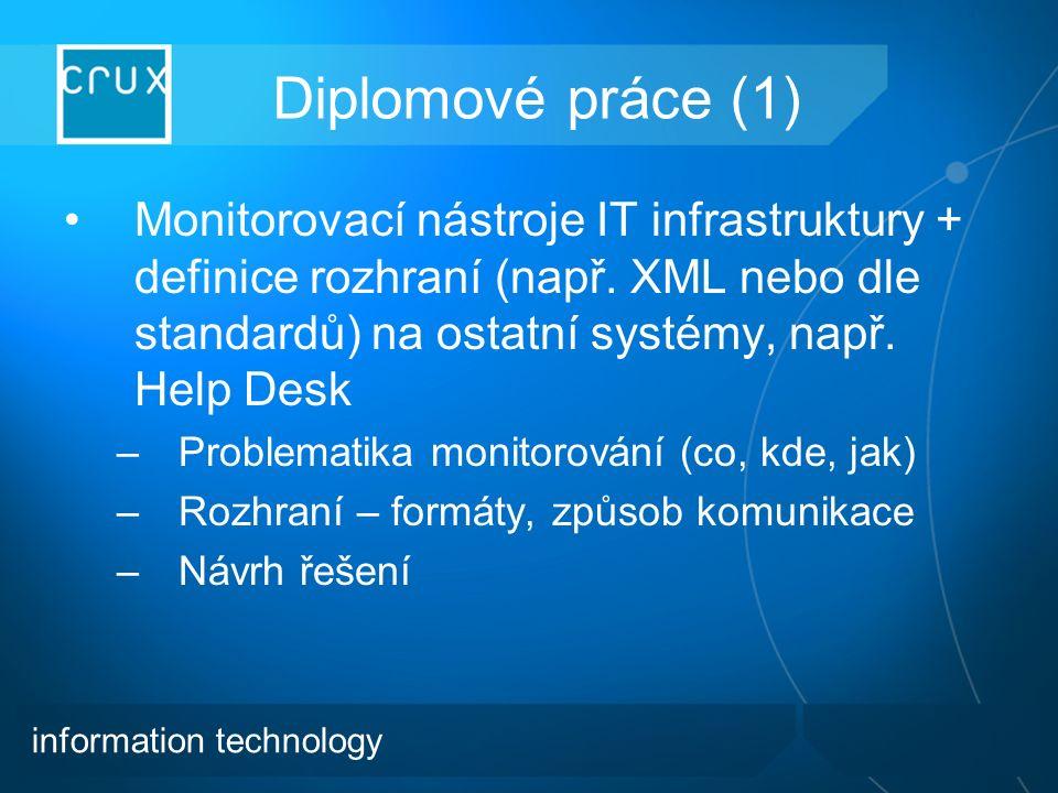 Diplomové práce (1) Monitorovací nástroje IT infrastruktury + definice rozhraní (např.
