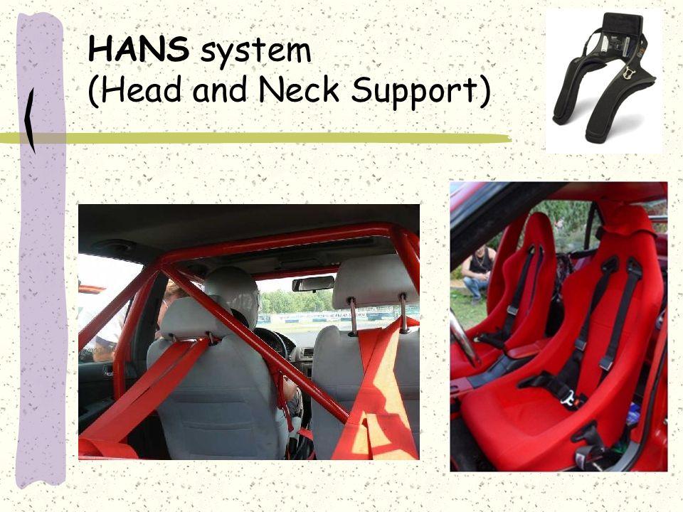 Spekulace o vzniku zlomenin bederní páteře HANS ruší pružnost krční páteře, tím přetíží bederní páteř HANS je nepohodlný, proto si jezdci více sklápí sedačku - náraz pak jde přímo na páteř zpětný náraz hlavy na HANS špatné použití HANS se sedačkou ke zlomeninám dochází dopadem auta z výšky na zadní kola dnešní jezdci nemají fyzičku, nic nevydrží zlomeniny byly vždy, ale neprokázaly se na RTG