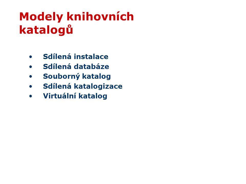 Modely knihovních katalogů Sdílená instalace Sdílená databáze Souborný katalog Sdílená katalogizace Virtuální katalog