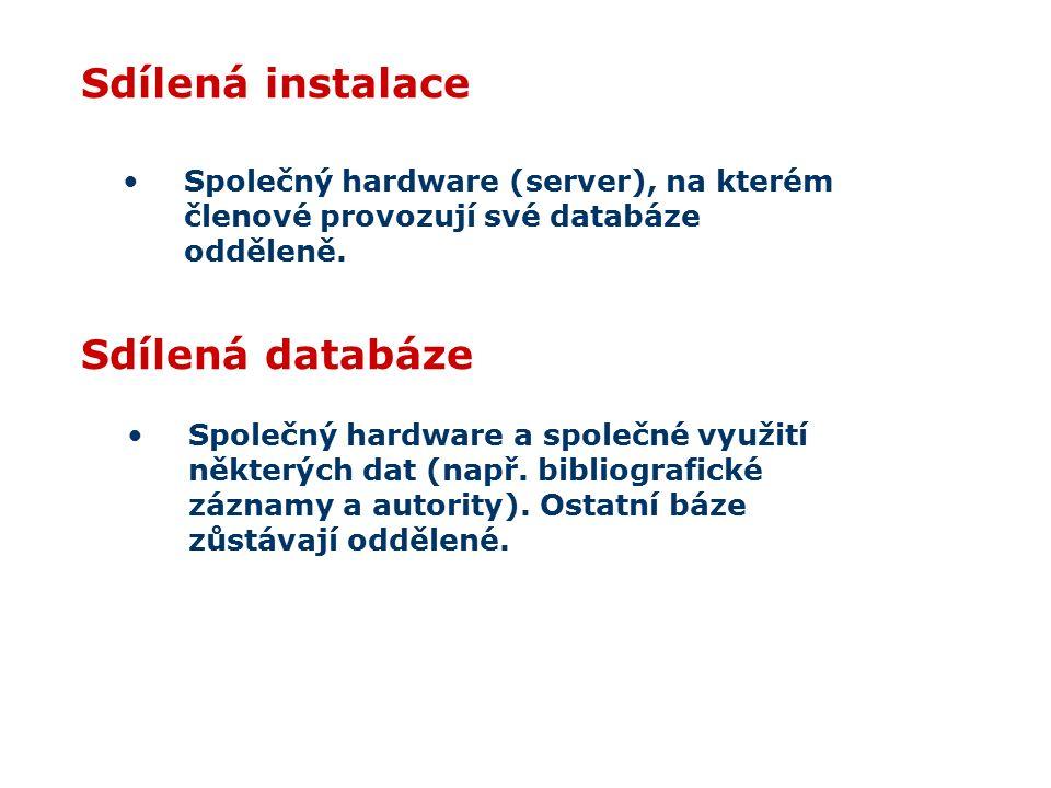 Sdílená instalace Společný hardware (server), na kterém členové provozují své databáze odděleně. Sdílená databáze Společný hardware a společné využití