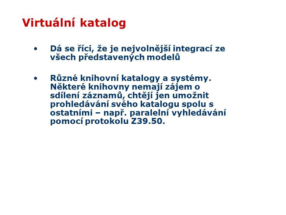 Virtuální katalog Dá se říci, že je nejvolnější integrací ze všech představených modelů Různé knihovní katalogy a systémy.