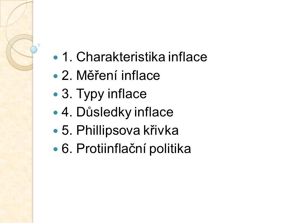 1. Charakteristika inflace 2. Měření inflace 3. Typy inflace 4. Důsledky inflace 5. Phillipsova křivka 6. Protiinflační politika