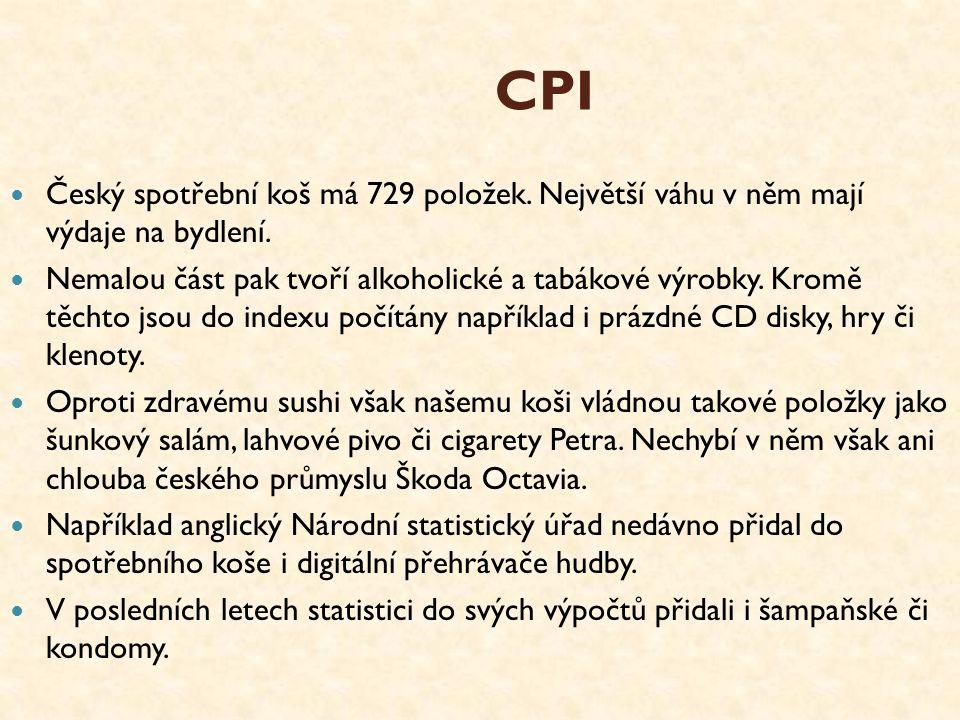 CPI Český spotřební koš má 729 položek. Největší váhu v něm mají výdaje na bydlení. Nemalou část pak tvoří alkoholické a tabákové výrobky. Kromě těcht