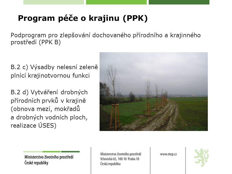 Program péče o krajinu (PPK) Podprogram pro zlepšování dochovaného přírodního a krajinného prostředí (PPK B) B.2 c) Výsadby nelesní zeleně plnící krajinotvornou funkci B.2 d) Vytváření drobných přírodních prvků v krajině (obnova mezí, mokřadů a drobných vodních ploch, realizace ÚSES)