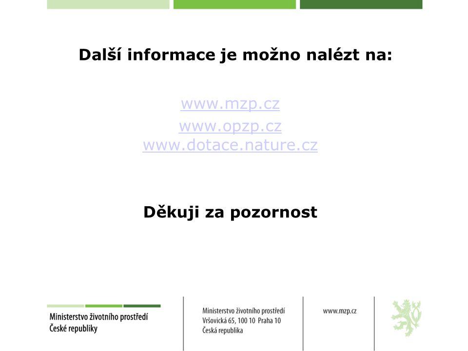 Další informace je možno nalézt na: www.mzp.cz www.opzp.cz www.dotace.nature.cz Děkuji za pozornost