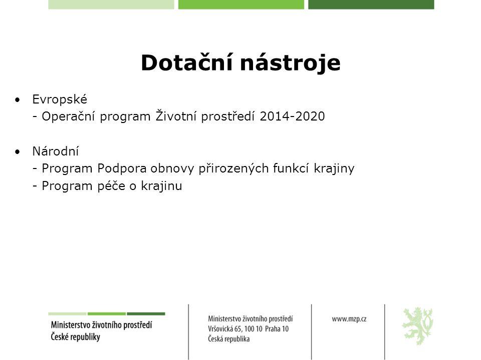 Operační program Životní prostředí 2014 – 2020 Prioritní osa 4: Ochrana a péče o přírodu a krajinu Finanční alokace – 9 496 846 890 Kč Specifické cíle: 4.1 Zajistit příznivý stav předmětů ochrany národně významných chráněných území 4.2 Posílit biodiverzitu 4.3 Posílit přirozené funkce krajiny 4.4 Zlepšit kvalitu prostředí v sídlech