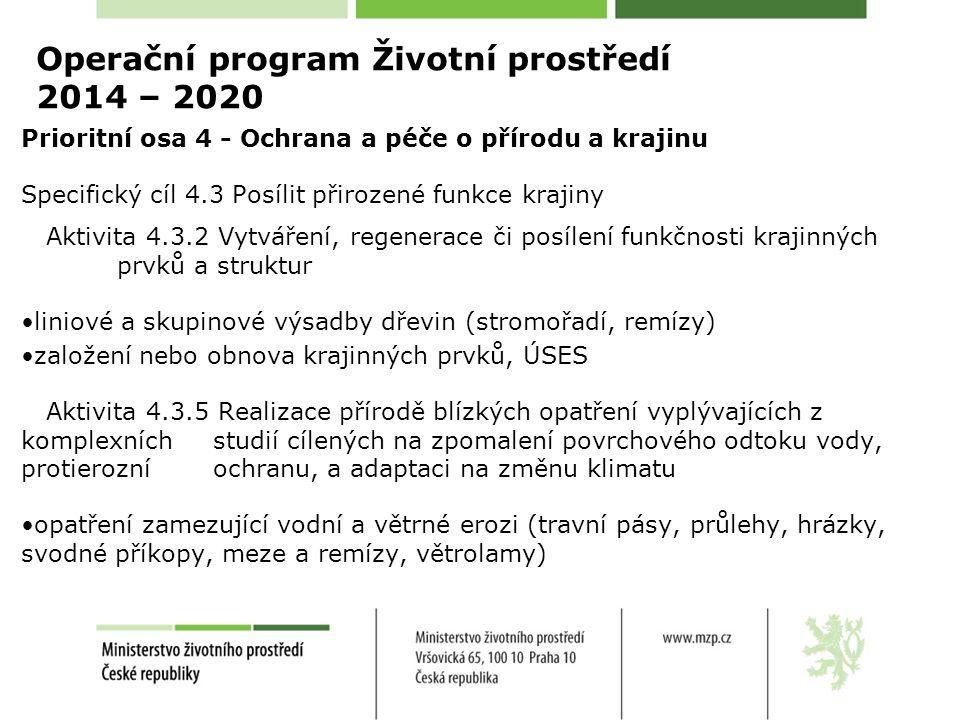 Operační program Životní prostředí 2014 – 2020 Prioritní osa 4 - Ochrana a péče o přírodu a krajinu Specifický cíl 4.3 Posílit přirozené funkce krajiny Aktivita 4.3.2 Vytváření, regenerace či posílení funkčnosti krajinných prvků a struktur liniové a skupinové výsadby dřevin (stromořadí, remízy) založení nebo obnova krajinných prvků, ÚSES Aktivita 4.3.5 Realizace přírodě blízkých opatření vyplývajících z komplexních studií cílených na zpomalení povrchového odtoku vody, protierozní ochranu, a adaptaci na změnu klimatu opatření zamezující vodní a větrné erozi (travní pásy, průlehy, hrázky, svodné příkopy, meze a remízy, větrolamy)
