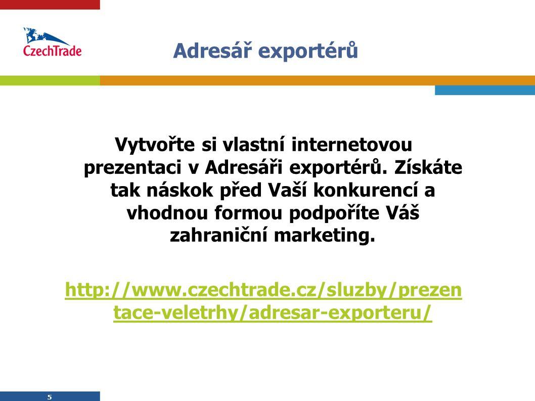 5 Adresář exportérů 5 Vytvořte si vlastní internetovou prezentaci v Adresáři exportérů. Získáte tak náskok před Vaší konkurencí a vhodnou formou podpo