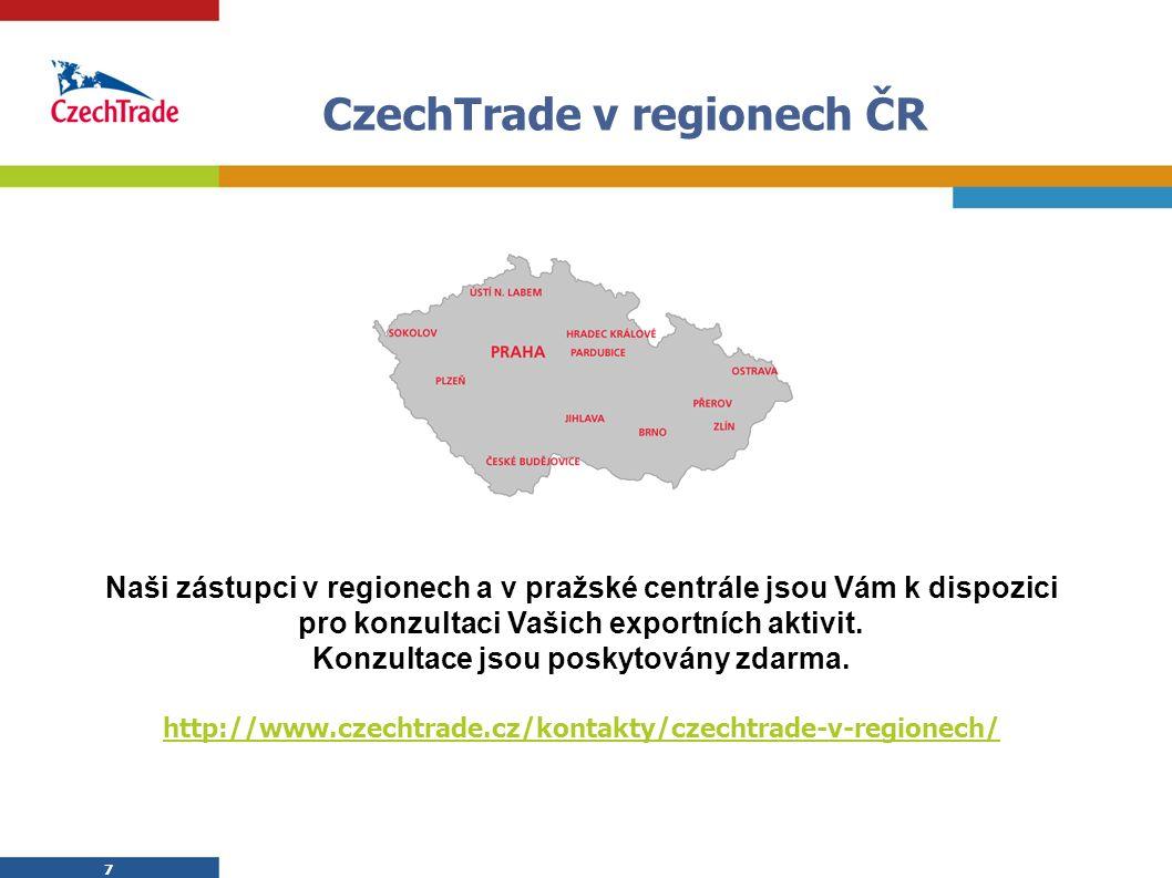 7 7 CzechTrade v regionech ČR Naši zástupci v regionech a v pražské centrále jsou Vám k dispozici pro konzultaci Vašich exportních aktivit. Konzultace