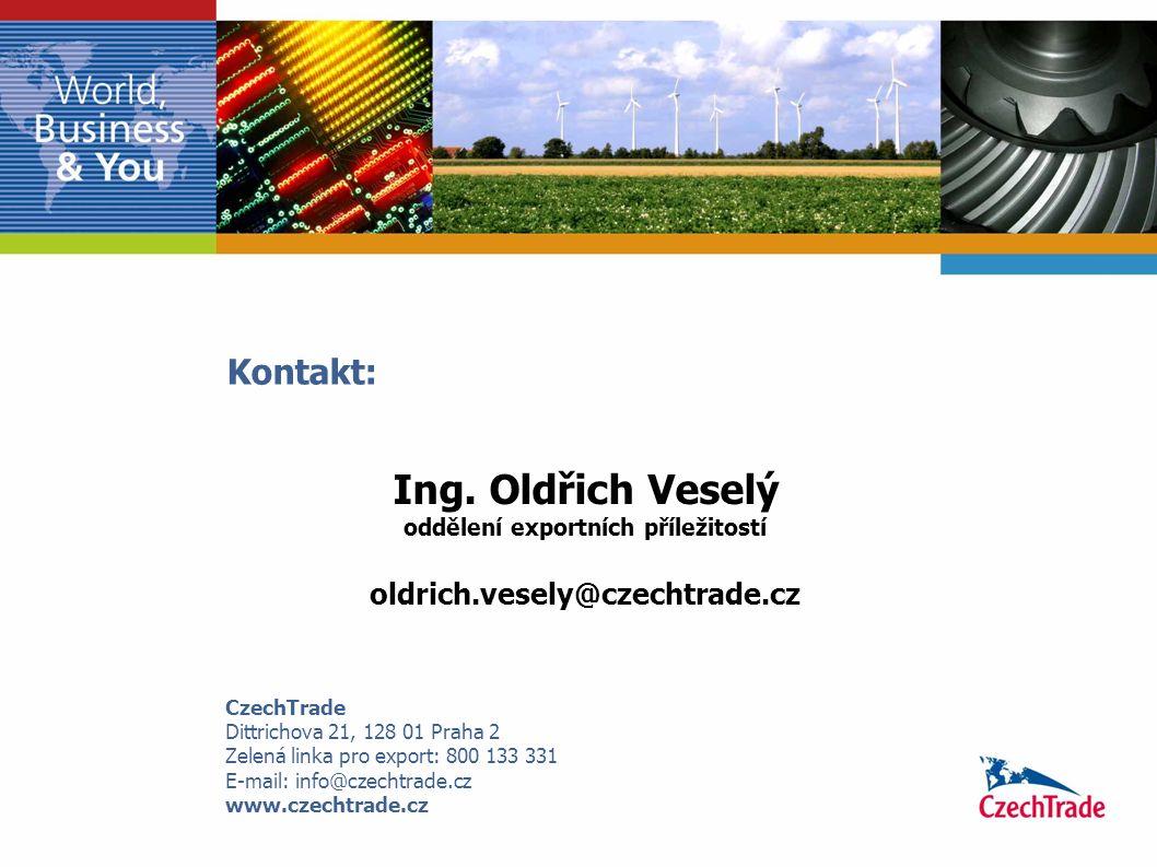 Ing. Oldřich Veselý oddělení exportních příležitostí oldrich.vesely@czechtrade.cz Kontakt: CzechTrade Dittrichova 21, 128 01 Praha 2 Zelená linka pro
