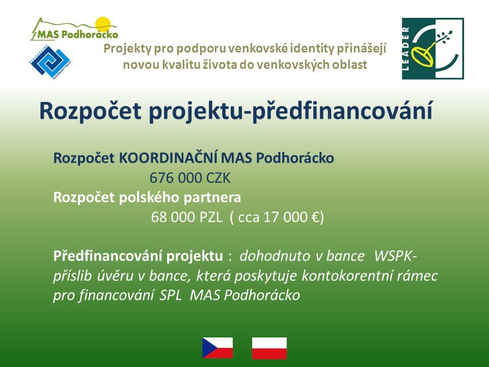 Rozpočet projektu-předfinancování Projekty pro podporu venkovské identity přinášejí novou kvalitu života do venkovských oblast Rozpočet KOORDINAČNÍ MAS Podhorácko 676 000 CZK Rozpočet polského partnera 68 000 PZL ( cca 17 000 €) Předfinancování projektu : dohodnuto v bance WSPK- příslib úvěru v bance, která poskytuje kontokorentní rámec pro financování SPL MAS Podhorácko