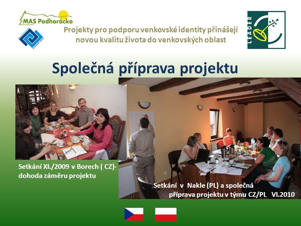 Společná příprava projektu Projekty pro podporu venkovské identity přinášejí novou kvalitu života do venkovských oblast Setkání v Nakle (PL) a společná příprava projektu v týmu CZ/PL VI.2010 Setkání XI./2009 v Borech ( CZ)- dohoda záměru projektu