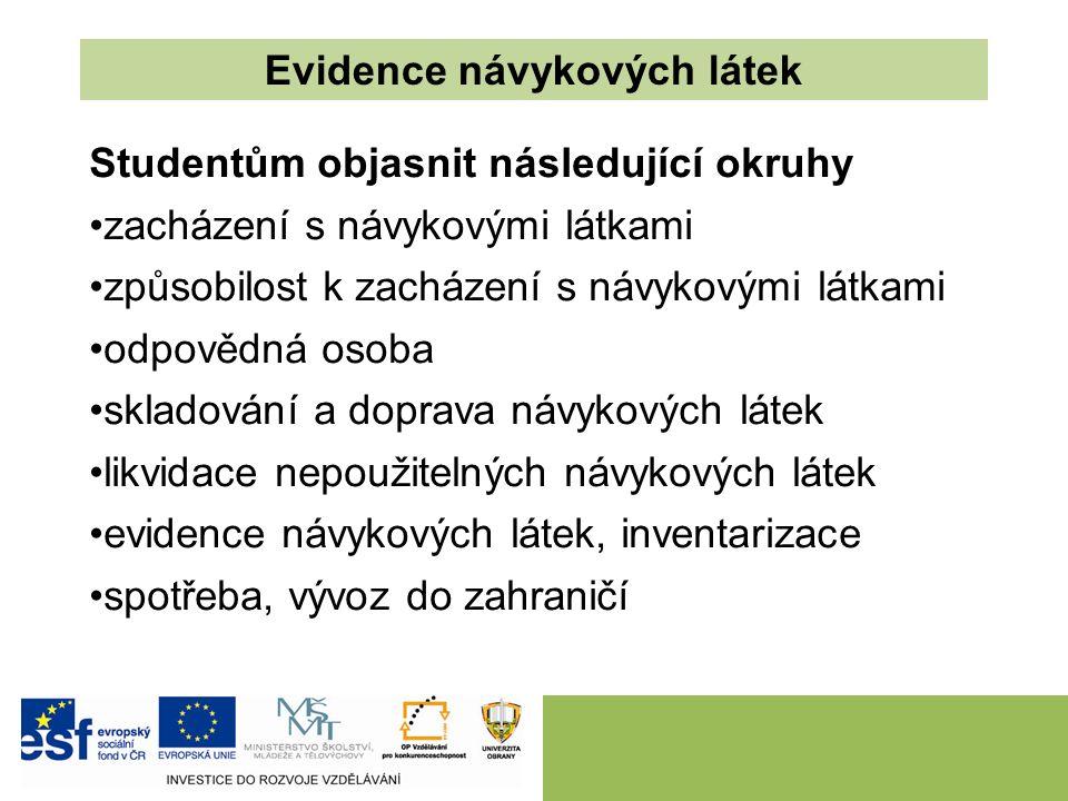 Studentům objasnit následující okruhy zacházení s návykovými látkami způsobilost k zacházení s návykovými látkami odpovědná osoba skladování a doprava