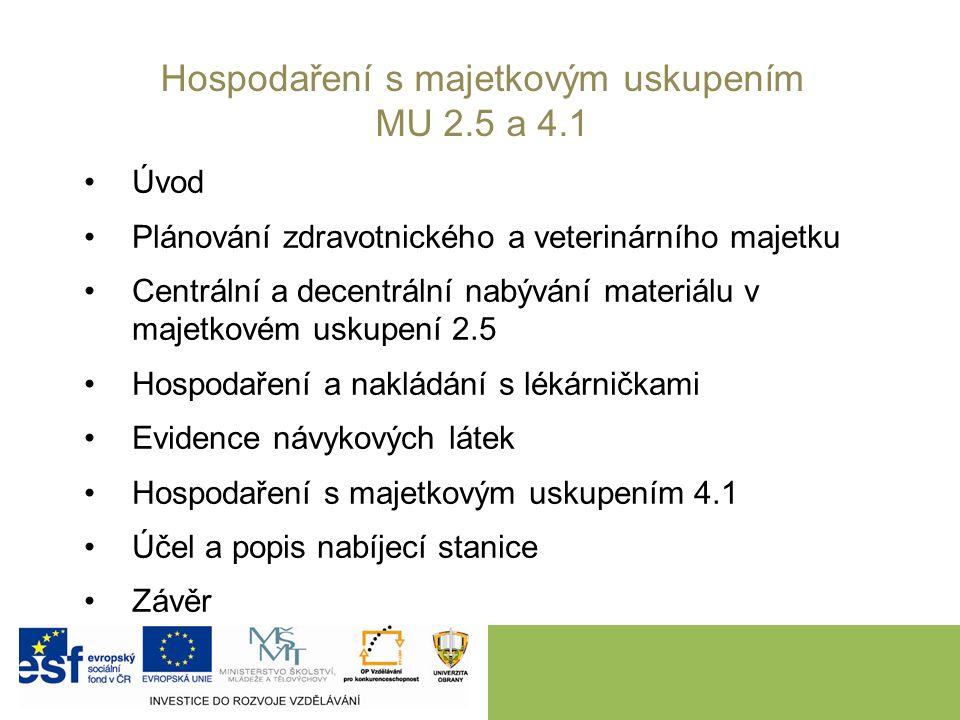 Úvod Plánování zdravotnického a veterinárního majetku Centrální a decentrální nabývání materiálu v majetkovém uskupení 2.5 Hospodaření a nakládání s l