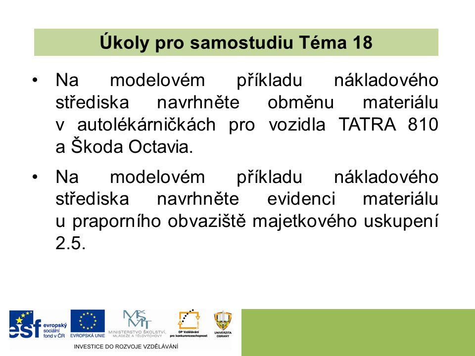 Na modelovém příkladu nákladového střediska navrhněte obměnu materiálu v autolékárničkách pro vozidla TATRA 810 a Škoda Octavia.