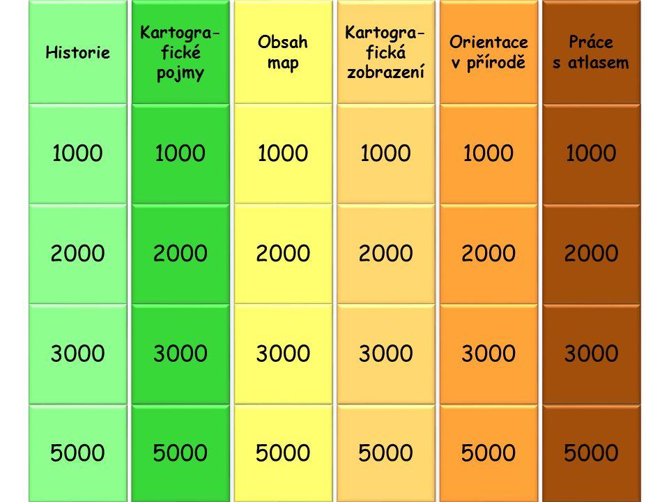 Historie 1000 2000 3000 5000 Kartogra- fické pojmy 1000 2000 3000 5000 Obsah map 1000 2000 3000 5000 Kartogra- fická zobrazení 1000 2000 3000 5000 Ori