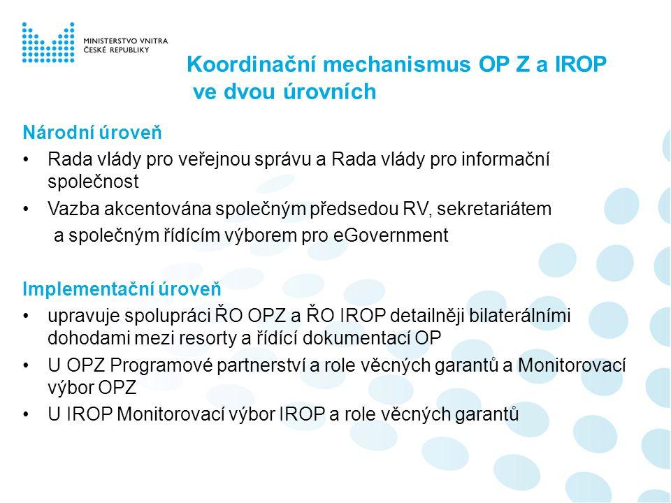 Koordinační mechanismus OP Z a IROP ve dvou úrovních Národní úroveň Rada vlády pro veřejnou správu a Rada vlády pro informační společnost Vazba akcent