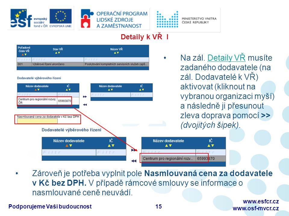 Detaily k VŘ I 15Podporujeme Vaši budoucnost www.esfcr.cz www.osf-mvcr.cz Zároveň je potřeba vyplnit pole Nasmlouvaná cena za dodavatele v Kč bez DPH.
