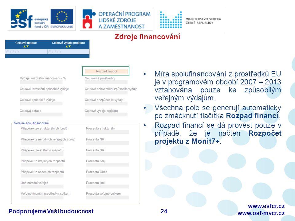 24 www.esfcr.cz www.osf-mvcr.cz Podporujeme Vaši budoucnost Zdroje financování Míra spolufinancování z prostředků EU je v programovém období 2007 – 2013 vztahována pouze ke způsobilým veřejným výdajům.