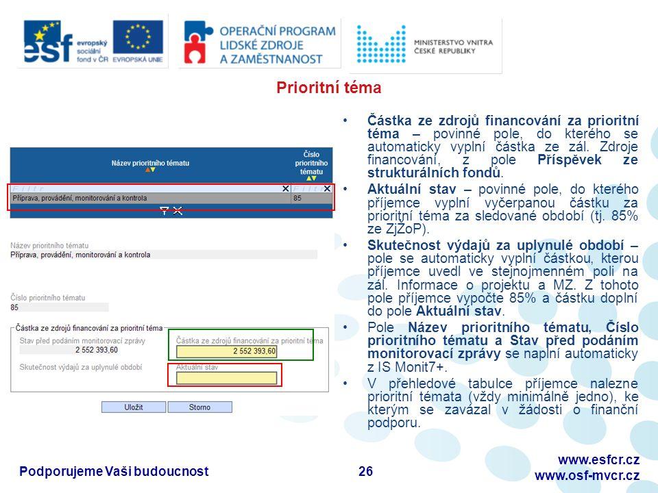 Prioritní téma Částka ze zdrojů financování za prioritní téma – povinné pole, do kterého se automaticky vyplní částka ze zál.