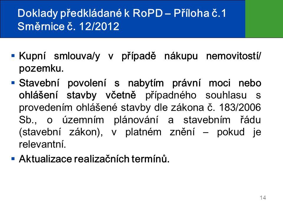 14 Doklady předkládané k RoPD – Příloha č.1 Směrnice č. 12/2012  Kupní smlouva/y v případě nákupu nemovitostí/ pozemku.  Stavební povolení s nabytím