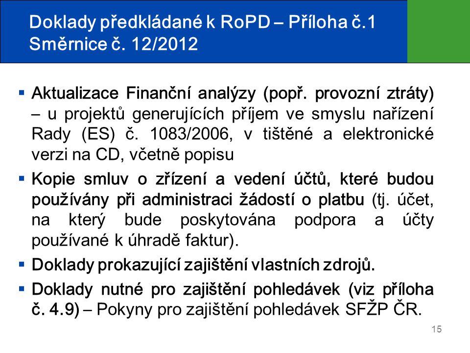 15 Doklady předkládané k RoPD – Příloha č.1 Směrnice č. 12/2012  Aktualizace Finanční analýzy (popř. provozní ztráty) – u projektů generujících příje