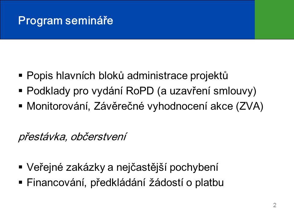2 Program semináře  Popis hlavních bloků administrace projektů  Podklady pro vydání RoPD (a uzavření smlouvy)  Monitorování, Závěrečné vyhodnocení akce (ZVA) přestávka, občerstvení  Veřejné zakázky a nejčastější pochybení  Financování, předkládání žádostí o platbu