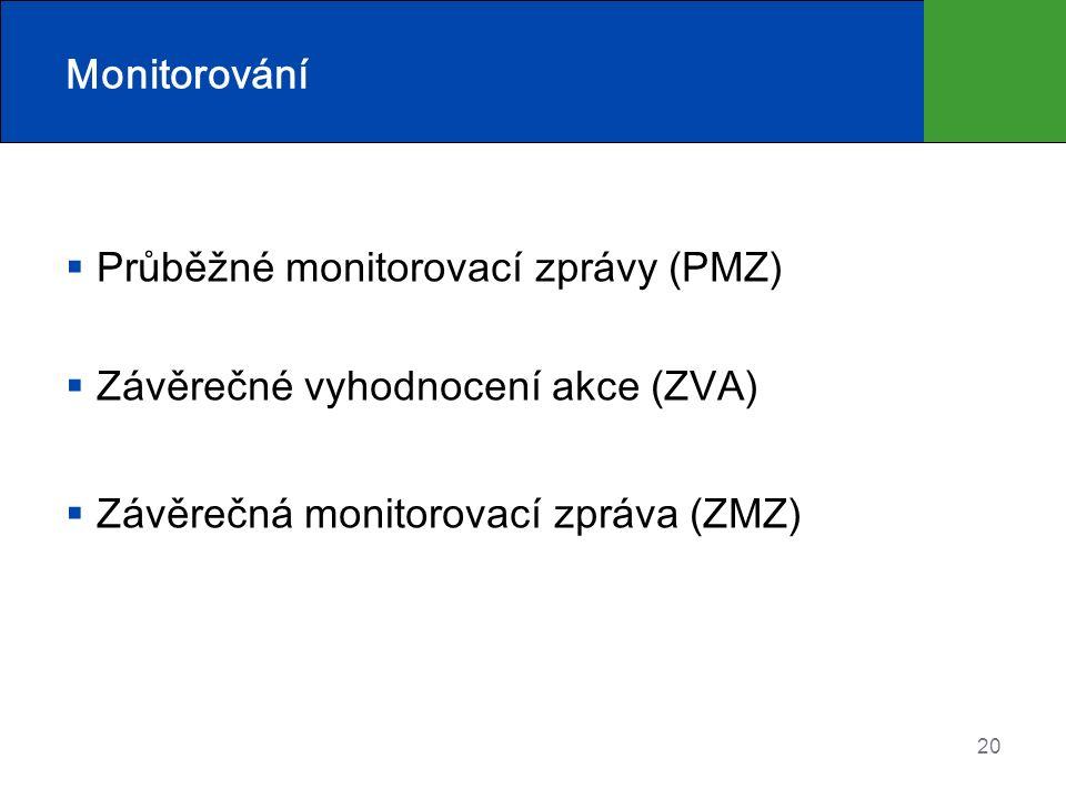 Monitorování  Průběžné monitorovací zprávy (PMZ)  Závěrečné vyhodnocení akce (ZVA)  Závěrečná monitorovací zpráva (ZMZ) 20