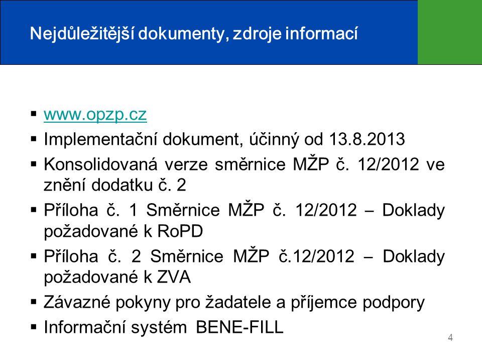 4 Nejdůležitější dokumenty, zdroje informací  www.opzp.cz www.opzp.cz  Implementační dokument, účinný od 13.8.2013  Konsolidovaná verze směrnice MŽP č.