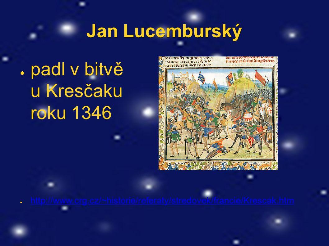 Jan Lucemburský ● padl v bitvě u Kresčaku roku 1346 ● http://www.crg.cz/~historie/referaty/stredovek/francie/Krescak.htm http://www.crg.cz/~historie/r