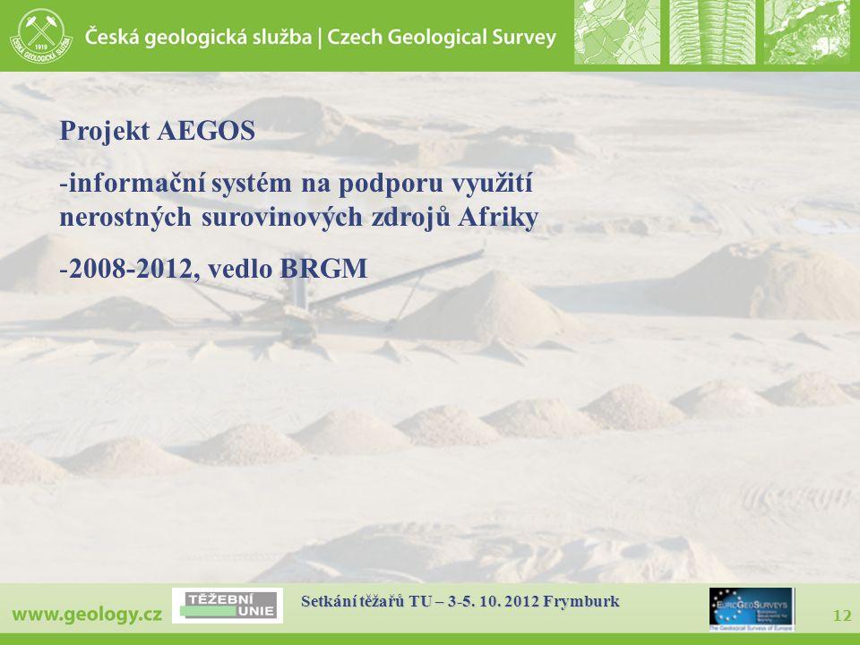 12 Setkání těžařů TU – 3-5. 10. 2012 Frymburk Projekt AEGOS -informační systém na podporu využití nerostných surovinových zdrojů Afriky -2008-2012, ve