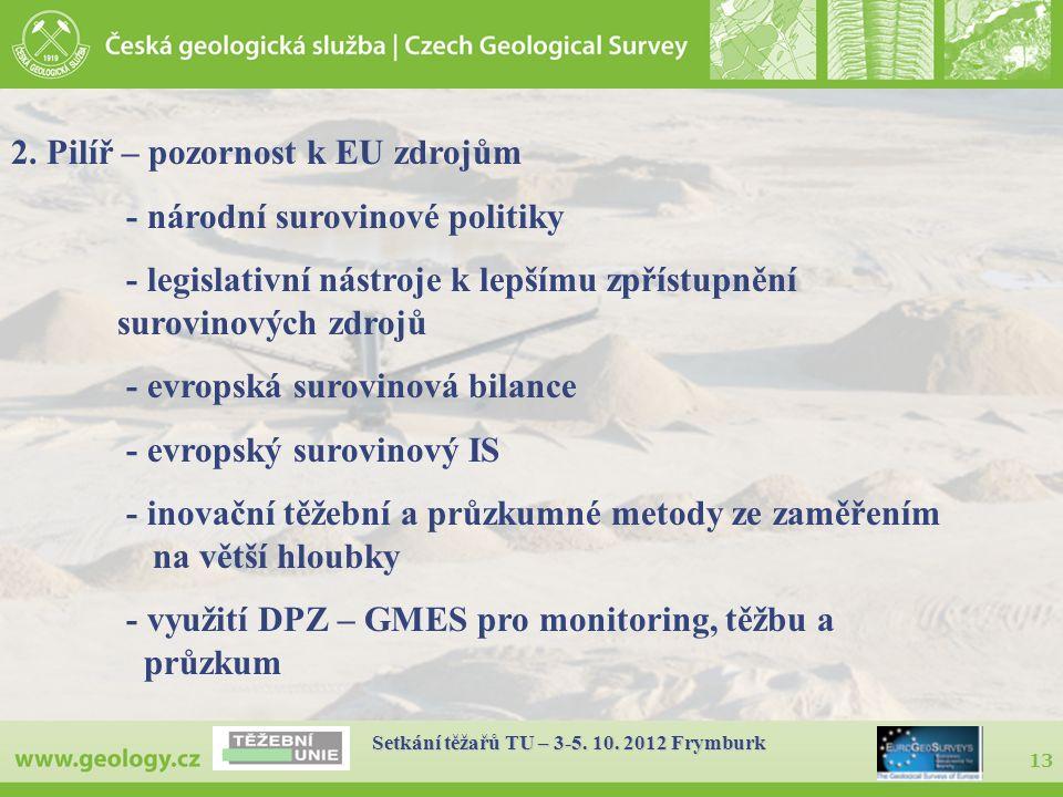 13 Setkání těžařů TU – 3-5. 10. 2012 Frymburk 2. Pilíř – pozornost k EU zdrojům - národní surovinové politiky - legislativní nástroje k lepšímu zpříst