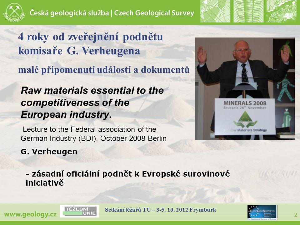 2 Setkání těžařů TU – 3-5. 10. 2012 Frymburk - zásadní oficiální podnět k Evropské surovinové iniciativě Raw materials essential to the competitivenes