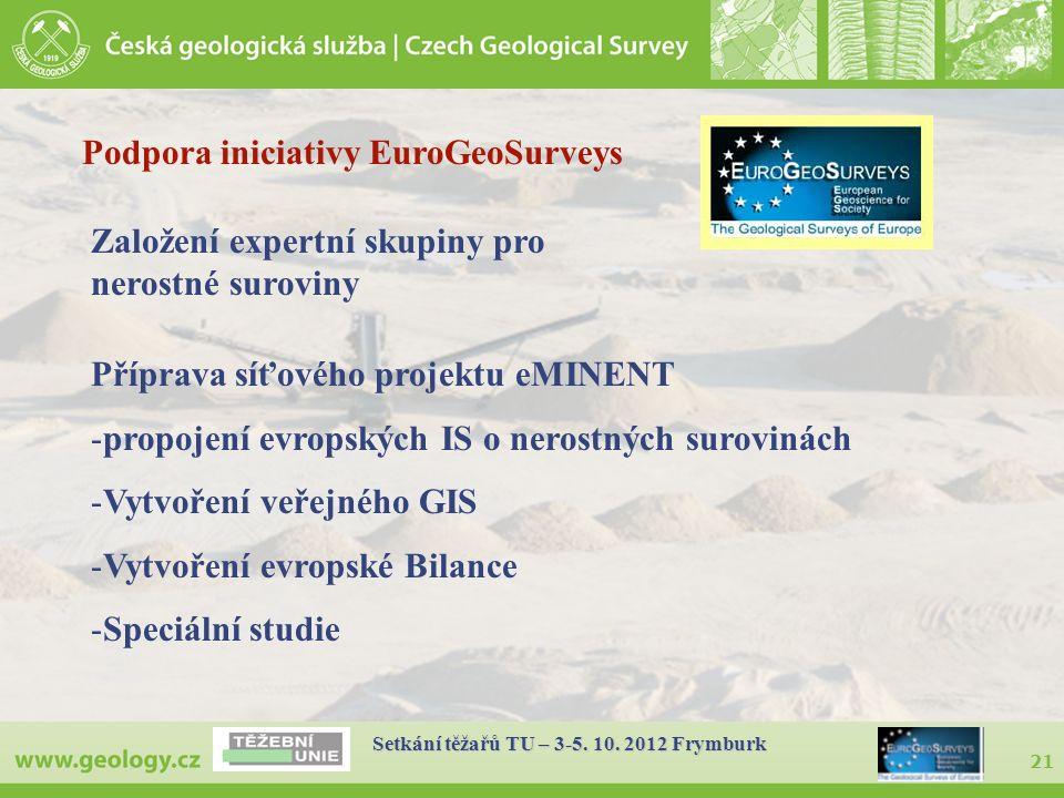 21 Setkání těžařů TU – 3-5. 10. 2012 Frymburk Podpora iniciativy EuroGeoSurveys Založení expertní skupiny pro nerostné suroviny Příprava síťového proj