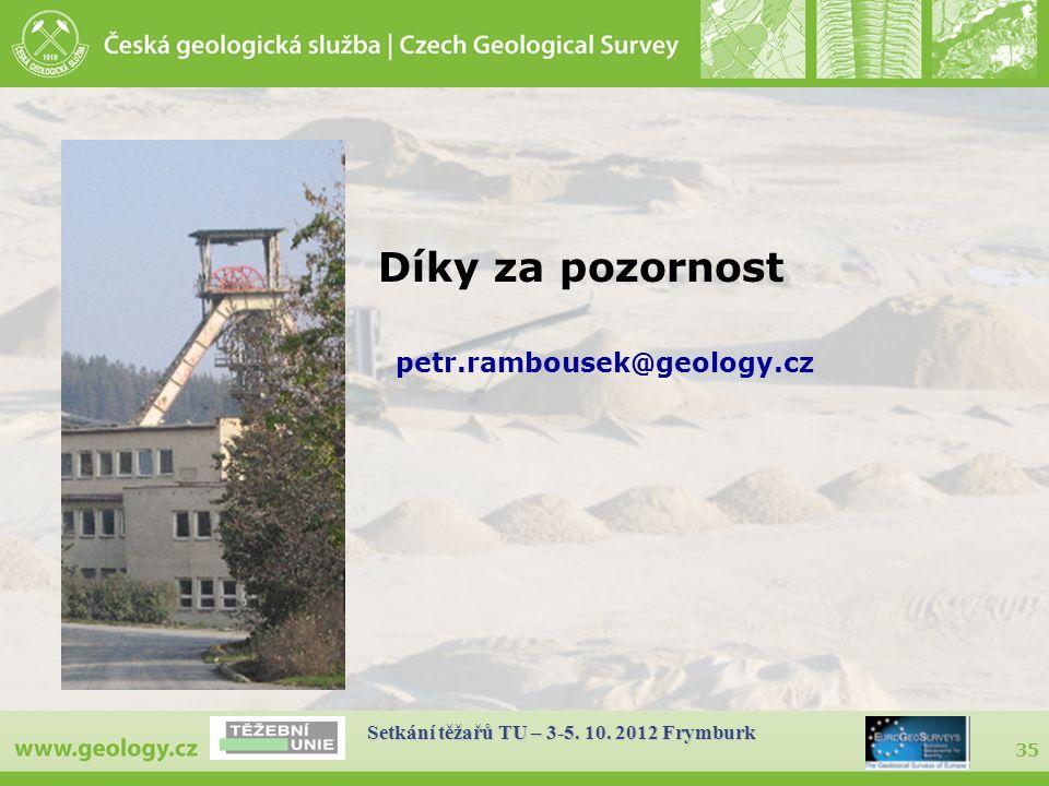35 Setkání těžařů TU – 3-5. 10. 2012 Frymburk Díky za pozornost petr.rambousek@geology.cz