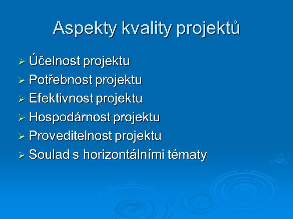 Aspekty kvality projektů  Účelnost projektu  Potřebnost projektu  Efektivnost projektu  Hospodárnost projektu  Proveditelnost projektu  Soulad s