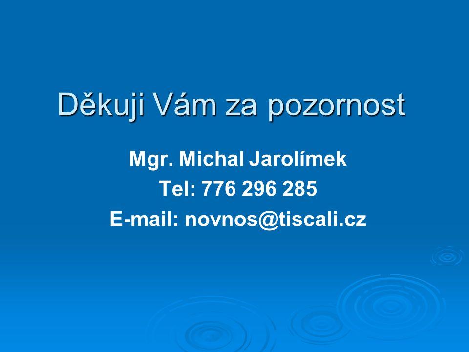 Děkuji Vám za pozornost Mgr. Michal Jarolímek Tel: 776 296 285 E-mail: novnos@tiscali.cz
