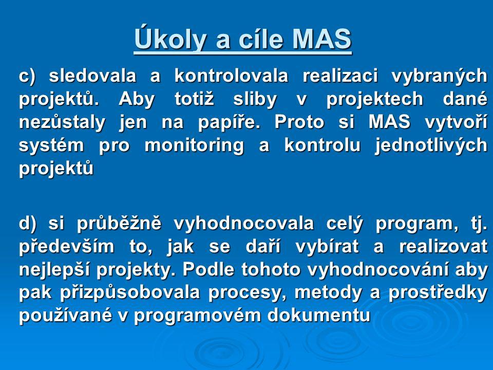 c) sledovala a kontrolovala realizaci vybraných projektů. Aby totiž sliby v projektech dané nezůstaly jen na papíře. Proto si MAS vytvoří systém pro m