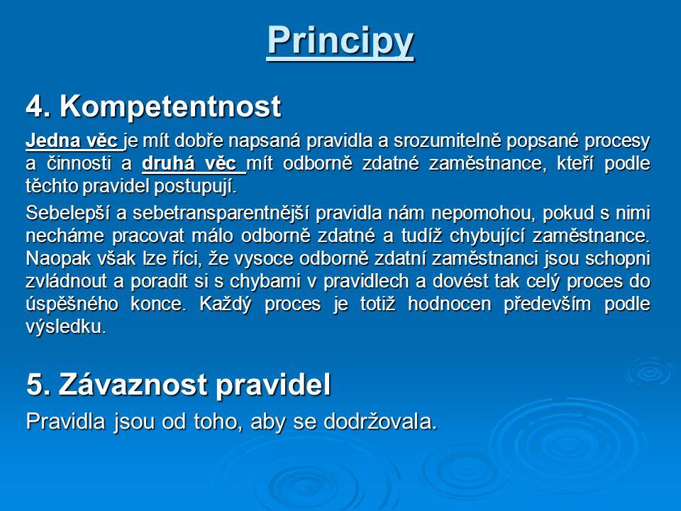 Principy 4. Kompetentnost Jedna věc je mít dobře napsaná pravidla a srozumitelně popsané procesy a činnosti a druhá věc mít odborně zdatné zaměstnance
