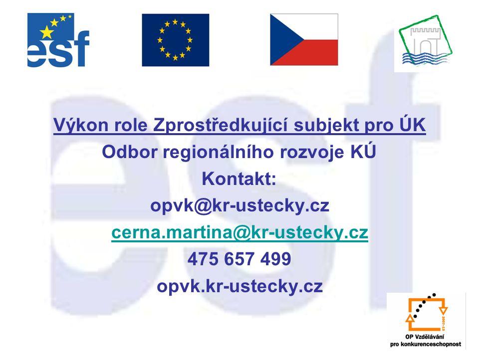 Výkon role Zprostředkující subjekt pro ÚK Odbor regionálního rozvoje KÚ Kontakt: opvk@kr-ustecky.cz cerna.martina@kr-ustecky.cz 475 657 499 opvk.kr-us