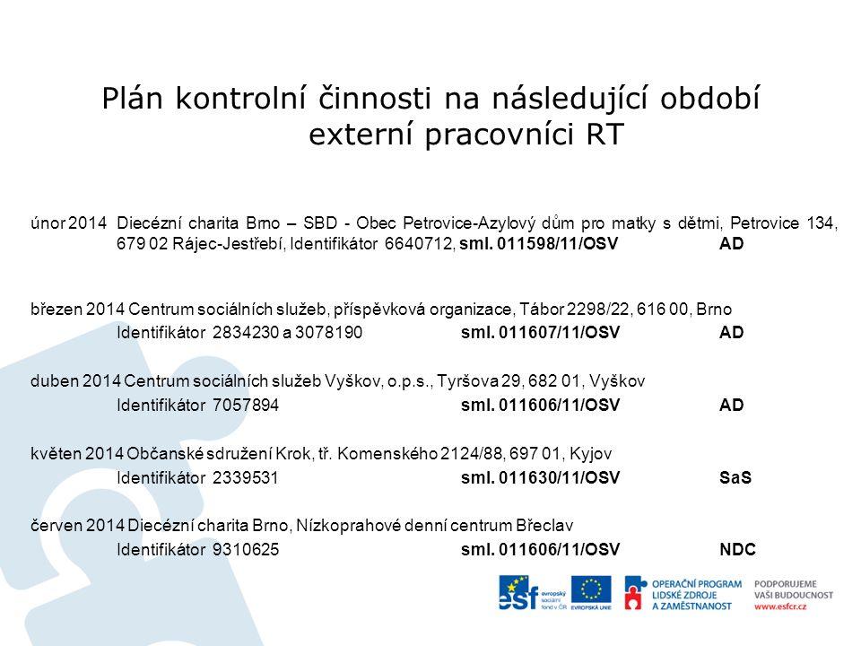 Plán kontrolní činnosti na následující období externí pracovníci RT únor 2014Diecézní charita Brno – SBD - Obec Petrovice-Azylový dům pro matky s dětmi, Petrovice 134, 679 02 Rájec-Jestřebí, Identifikátor 6640712, sml.