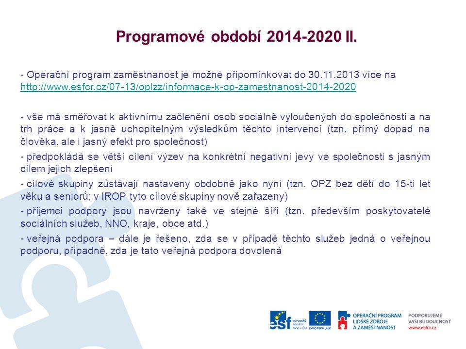 Programové období 2014-2020 II.