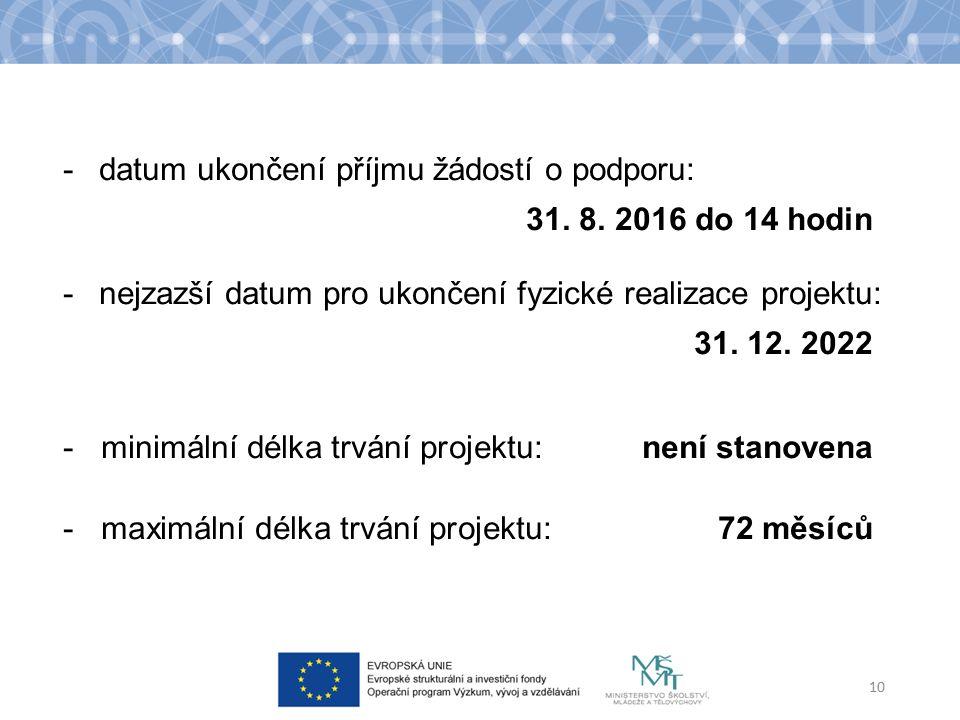 -datum ukončení příjmu žádostí o podporu: 31. 8. 2016 do 14 hodin -nejzazší datum pro ukončení fyzické realizace projektu: 31. 12. 2022 - minimální dé