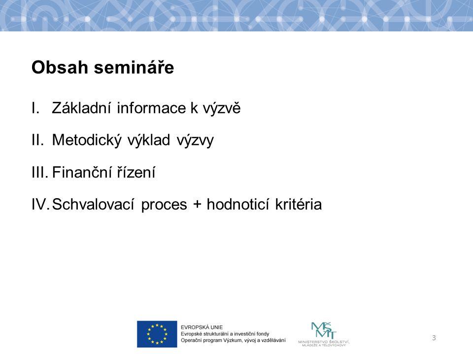 Obsah semináře I.Základní informace k výzvě II.Metodický výklad výzvy III.Finanční řízení IV.Schvalovací proces + hodnoticí kritéria 3