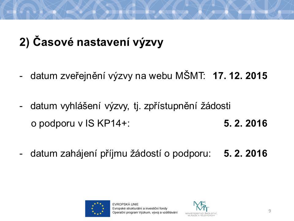 -datum zveřejnění výzvy na webu MŠMT:17. 12. 2015 -datum vyhlášení výzvy, tj. zpřístupnění žádosti o podporu v IS KP14+: 5. 2. 2016 -datum zahájení př