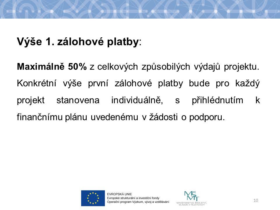 Výše 1. zálohové platby: Maximálně 50% z celkových způsobilých výdajů projektu.