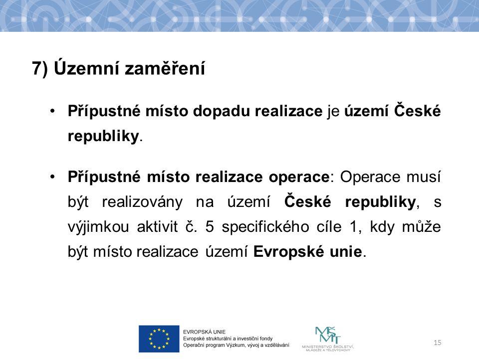 Přípustné místo dopadu realizace je území České republiky.